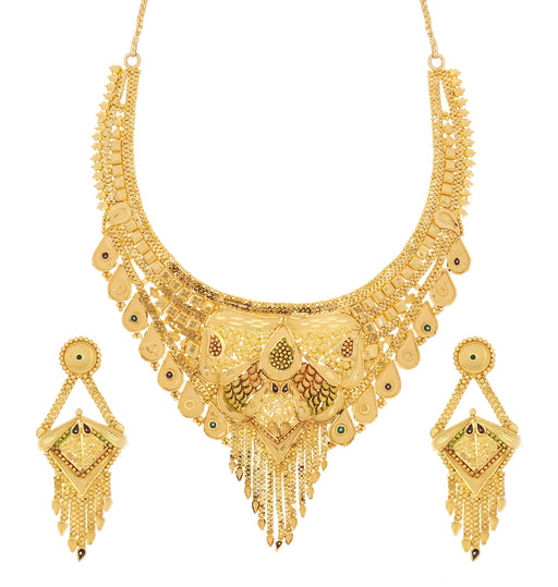 Sukkhi Stunning 24 Carat 1 Gram Gold Plated Meenakari Choker Necklace Set For Women