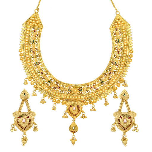 Sukkhi Exclusive 24 Carat 1 Gram Gold Plated Meenakari Choker Necklace Set For Women
