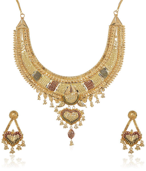 Sukkhi Gorgeous 24 Carat 1 Gram Gold Plated Meenakari Choker Necklace Set For Women