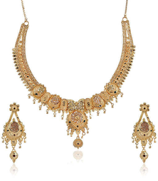 Sukkhi Precious 24 Carat 1 Gram Gold Plated Meenakari Choker Necklace Set For Women