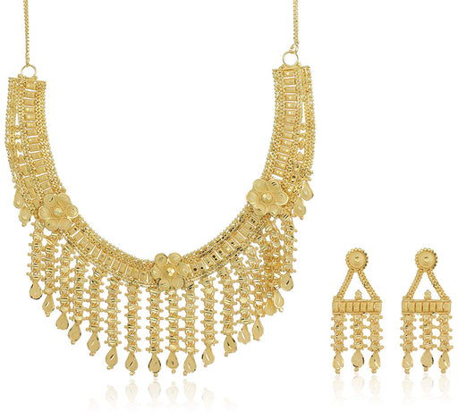 Sukkhi Glamorous 24 Carat 1 Gram Gold Plated Floral Choker Necklace Set For Women