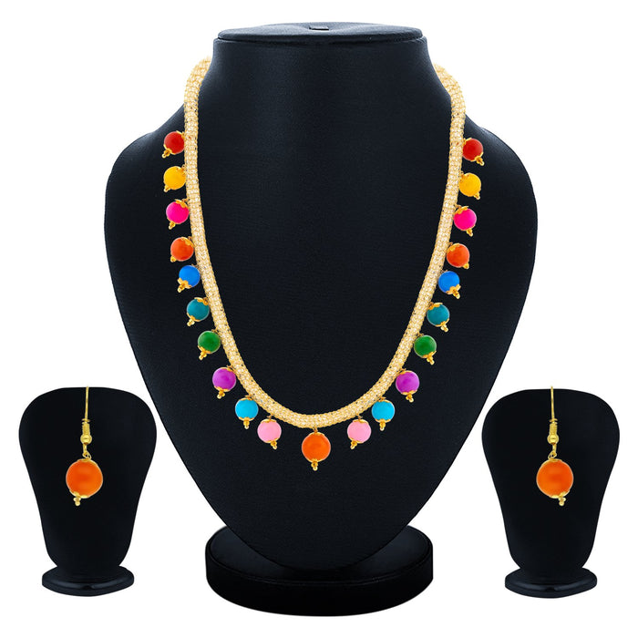 Sukkhi Glorious Gold Plated Pearl Multicolor Necklace Set For Women