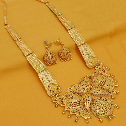 Sukkhi Spectacular 24 Carat 1 Gram Gold Plated Long Haram Necklace Set For Women