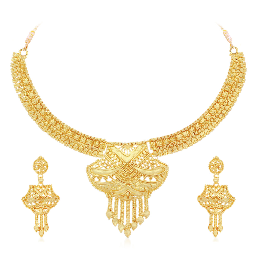 Sukkhi Exclusive 24 Carat Gold Plated Choker Necklace Set For Women