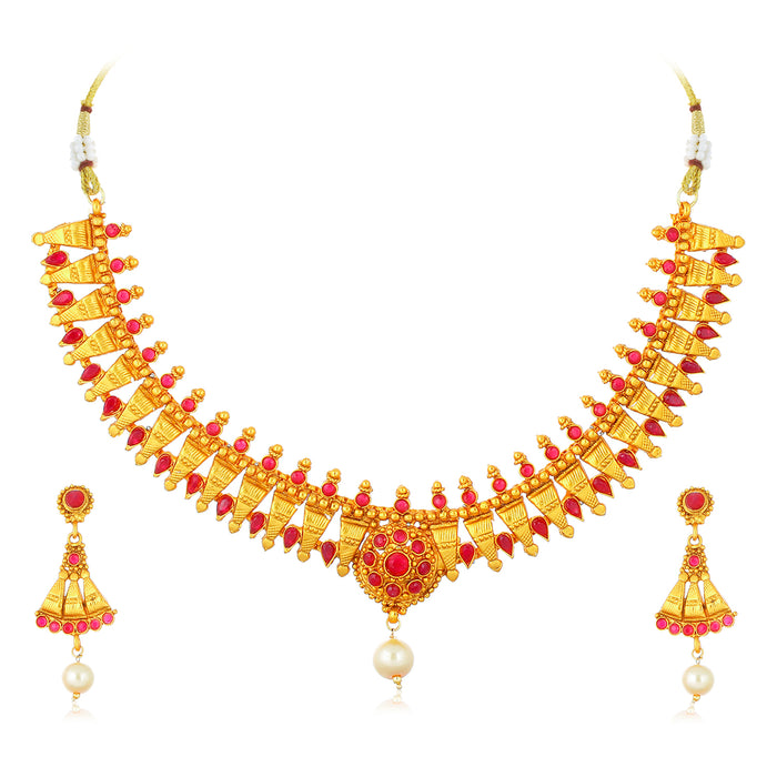 Sukkhi Astonish Gold Plated Pearl Choker Necklace Set for Women
