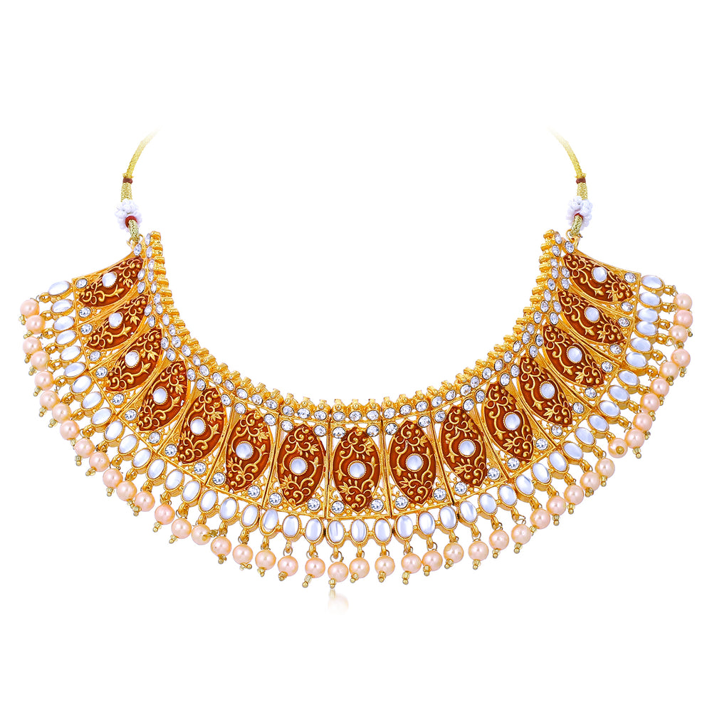 Sukkhi Bolloywood Inspired Gold Plated Choker Necklace Set for Women