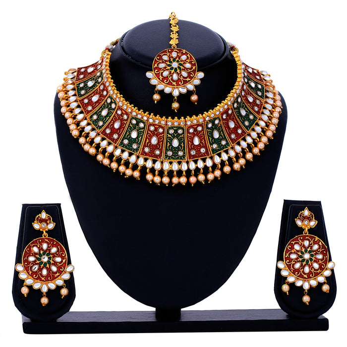 Sukkhi Sparkling Gold Plated Choker Necklace Set for Women