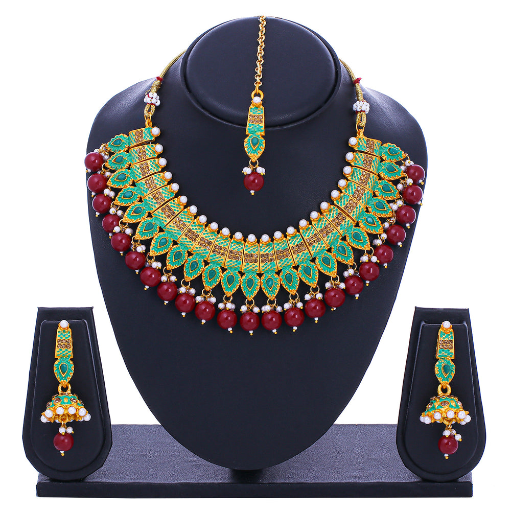 Sukkhi  Graceful Mint Collection Floral Gold Plated Necklace Set for Women