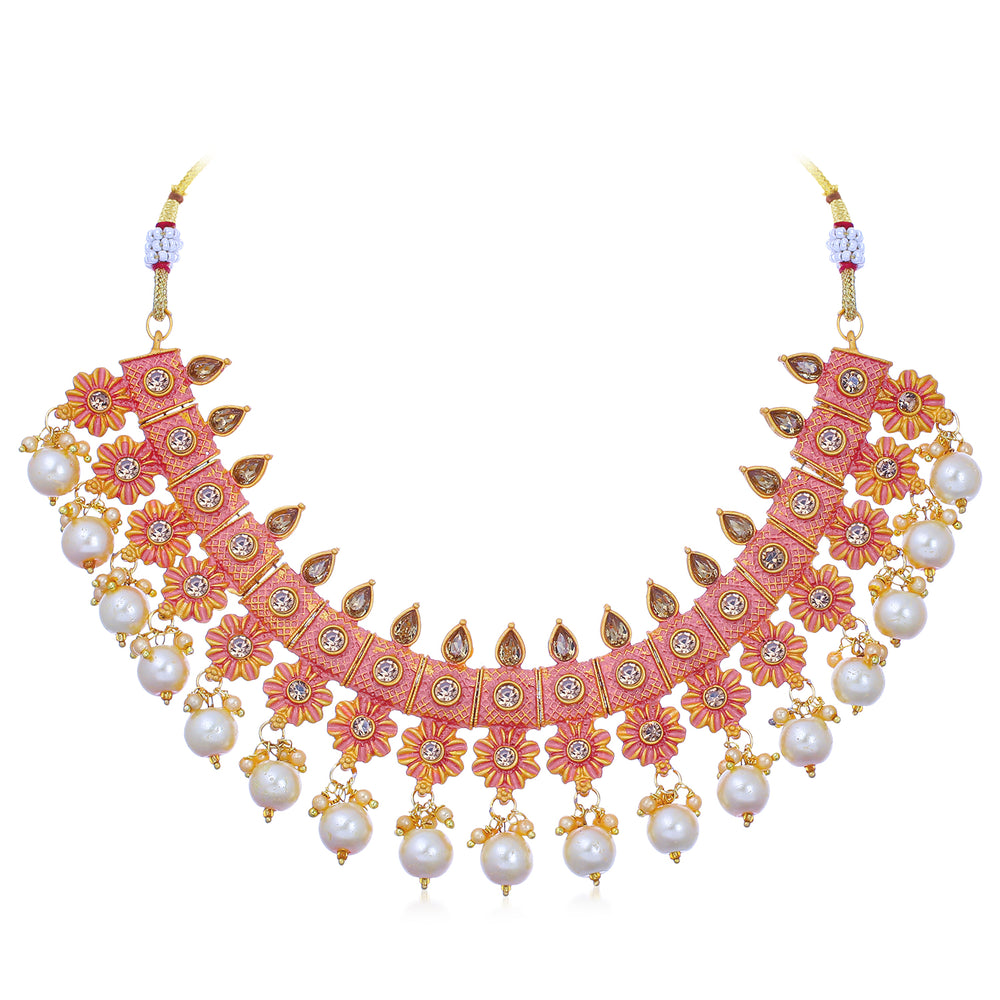 Sukkhi Splendid Floral Gold Plated Mint Collection Necklace Set for Women