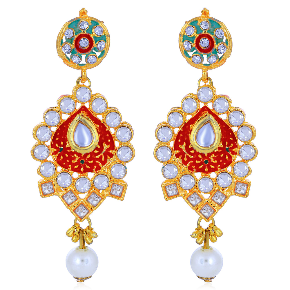 Sukkhi Glistening Pearl Gold Plated Mint Meena Collection Kundan Necklace Set For Women