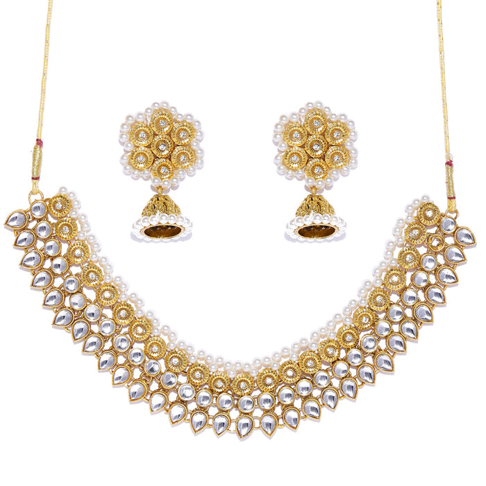 Sukkhi Youthful Kundan Gold Plated Pearl Collar Necklace Set for Women