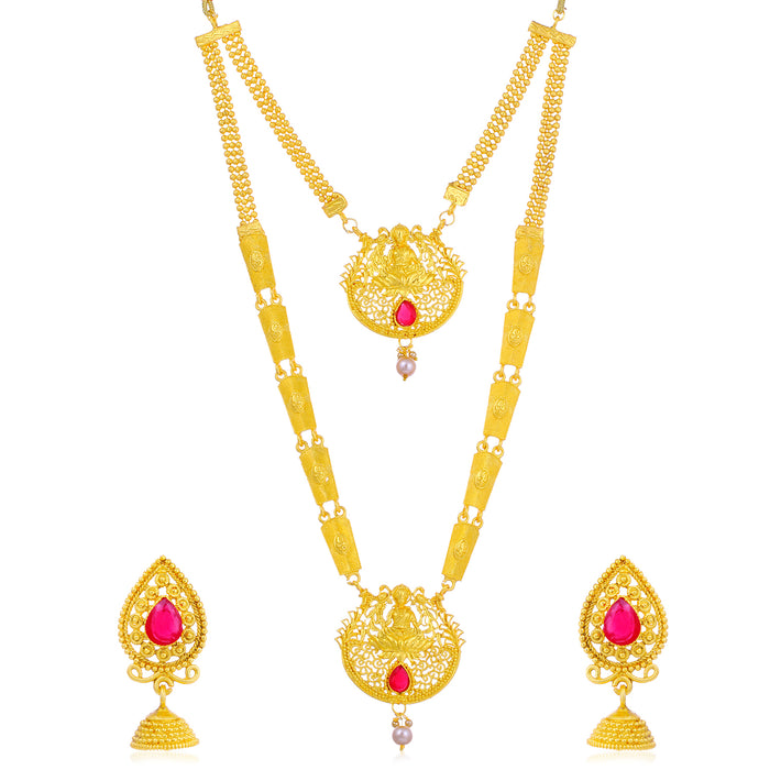 Sukkhi Amazing Gold Plated Goddess Long Haram Necklace Set For Women