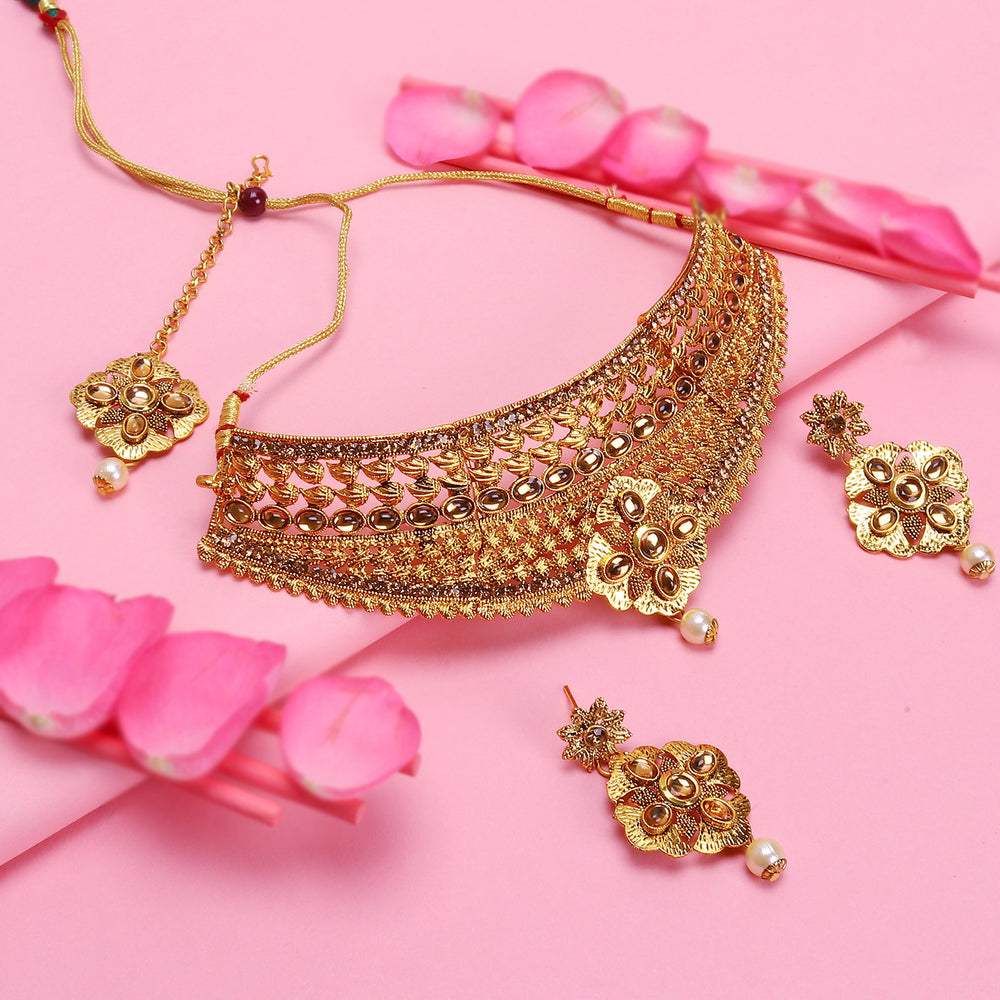 Sukkhi Lovely LCT Gold Plated Choker Necklace Set For Women