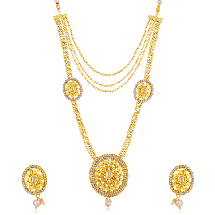 Sukkhi Gleaming LCT Gold Plated Pearl Long Haram Necklace Set For Women