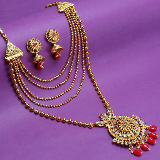 Sukkhi Gleaming LCT Gold Plated Long Haram Necklace Set For Women