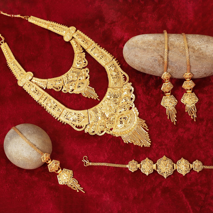 Sukkhi Luxurious 24 Carat Gold Plated Rani Haar Bridal Necklace Set for Women