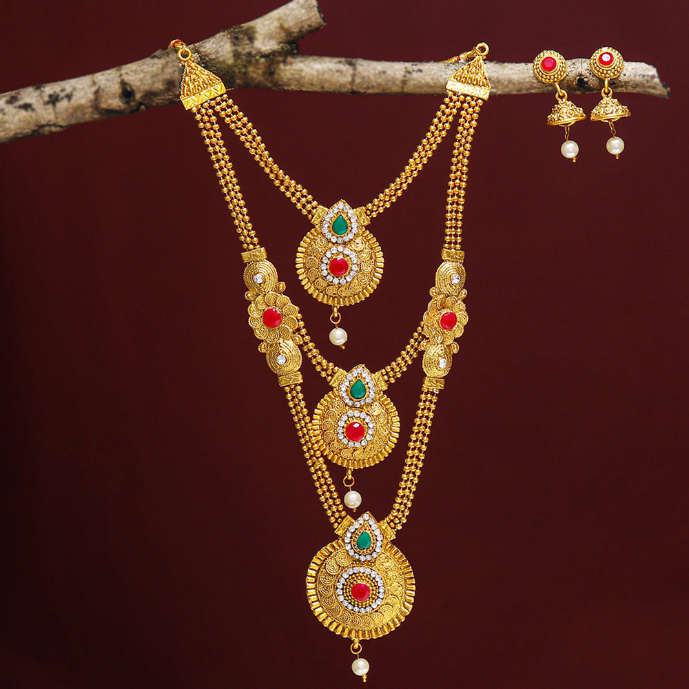 Sukkhi Bollywood Inspired Gold Plated Long Haram String Necklace Set for Women