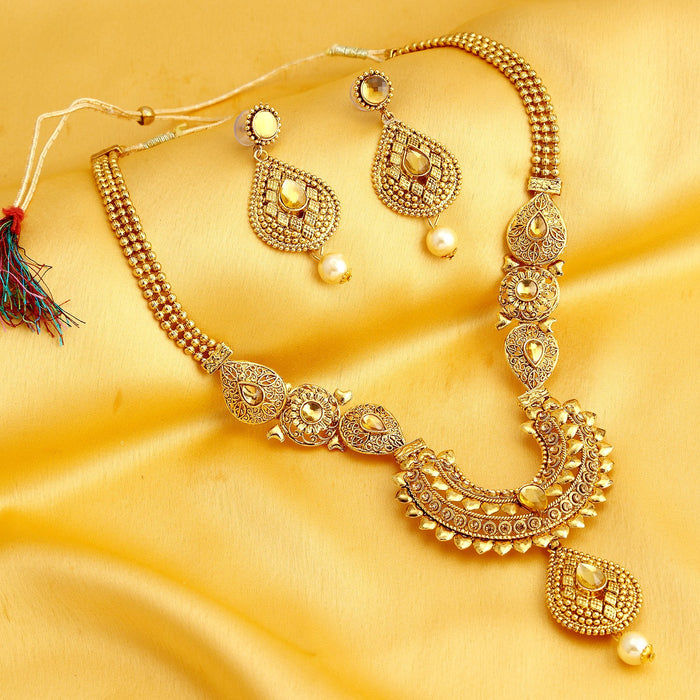 Sukkhi Trendy Long Haram Gold Plated Necklace Set