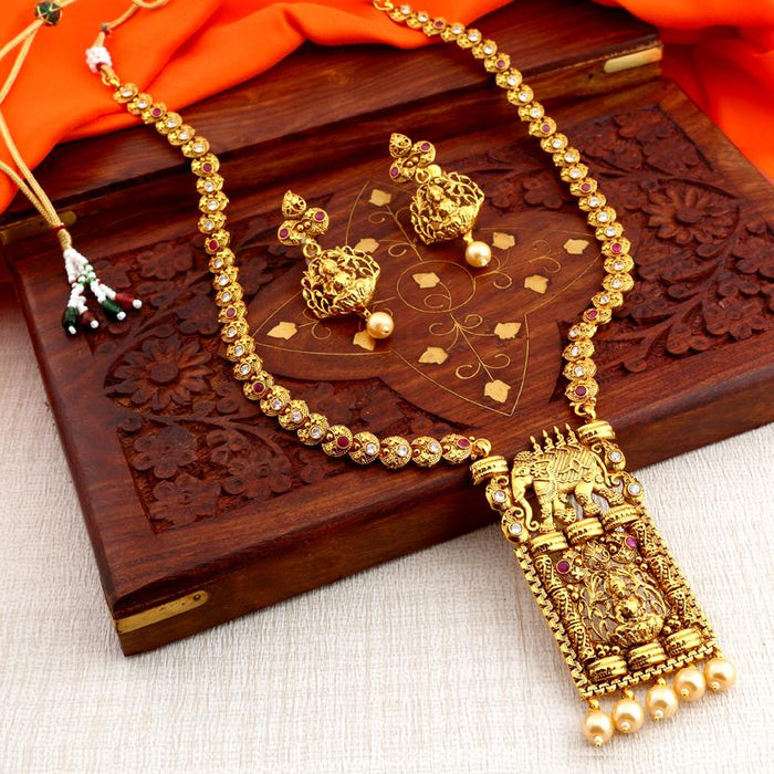Sukkhi Elephant Inspired Gold Plated Necklace Set for Women