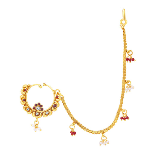 Sukkhi Glistening Gold Plated Nose Pin For Women