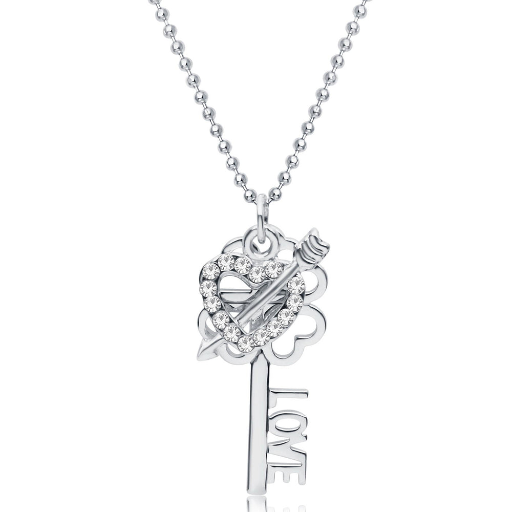 Sukkhi Valentine Special Rhodium Plated Love Lock and Key pendant for women