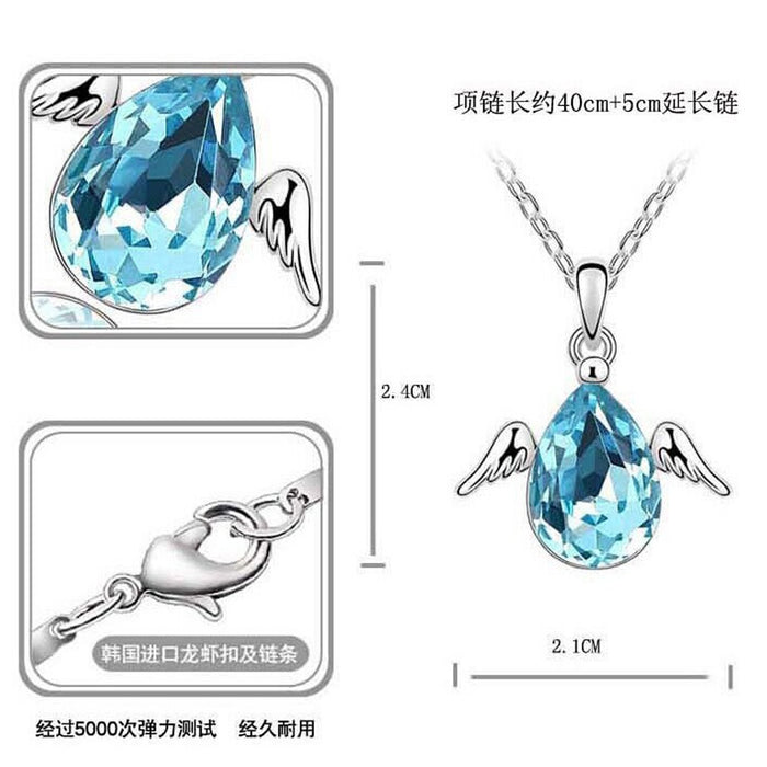 Sukkhi Fashion Pear Crystal Rhodium Plated Pendant for Women