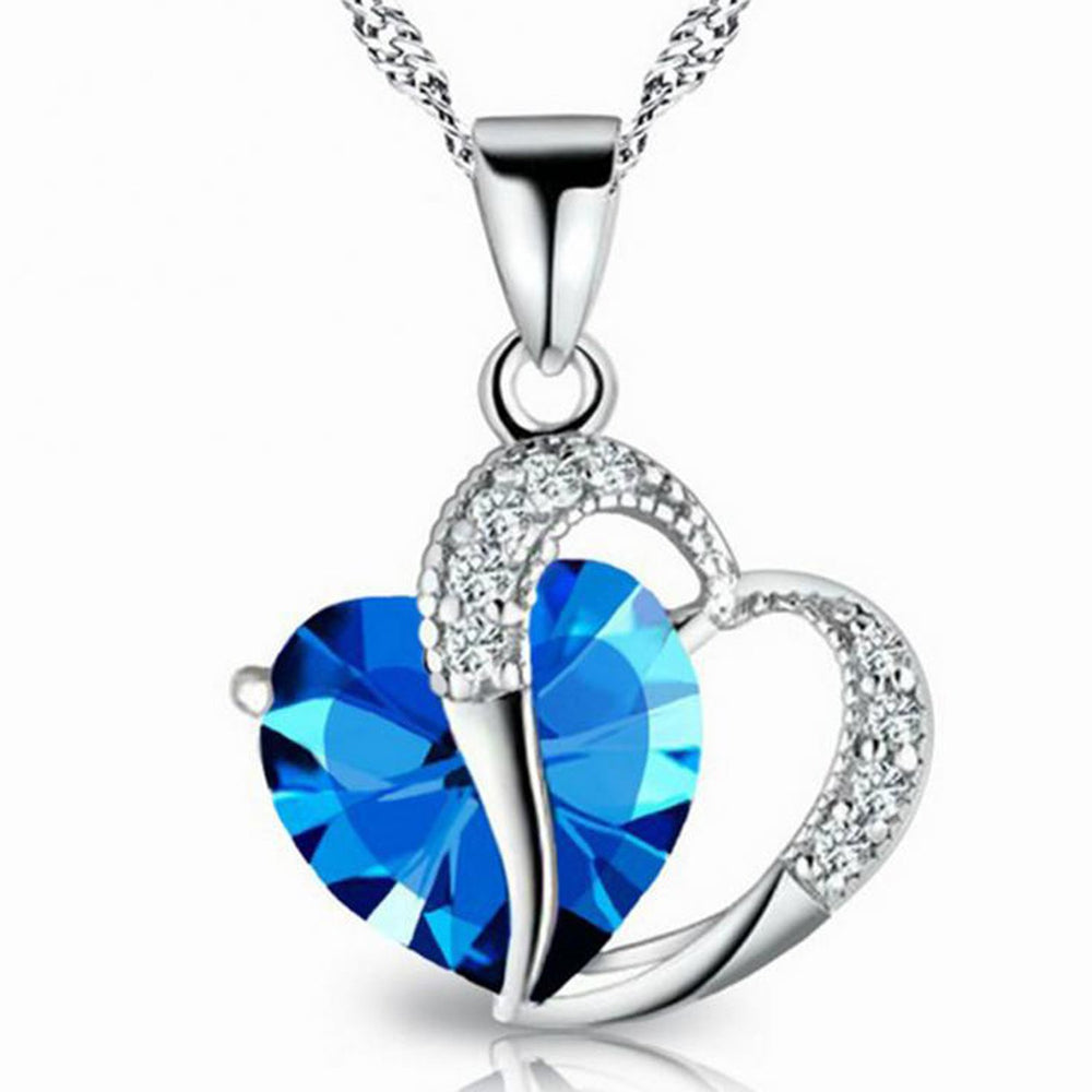 Sukkhi Trendy Joint Valentine Heart Crystal Rhodium Plated Pendant for Women
