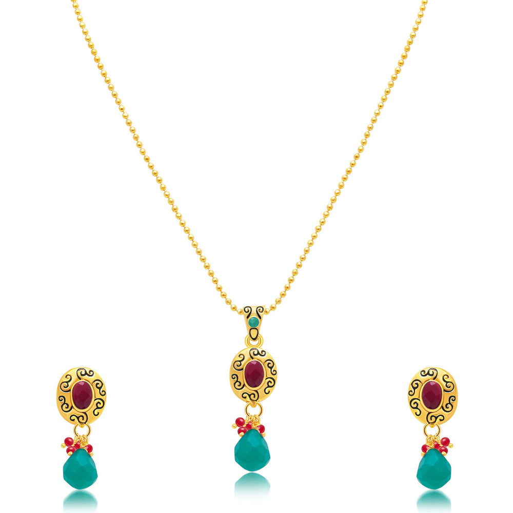 Sukkhi Alluring Gold Plated Pendant Set For Women