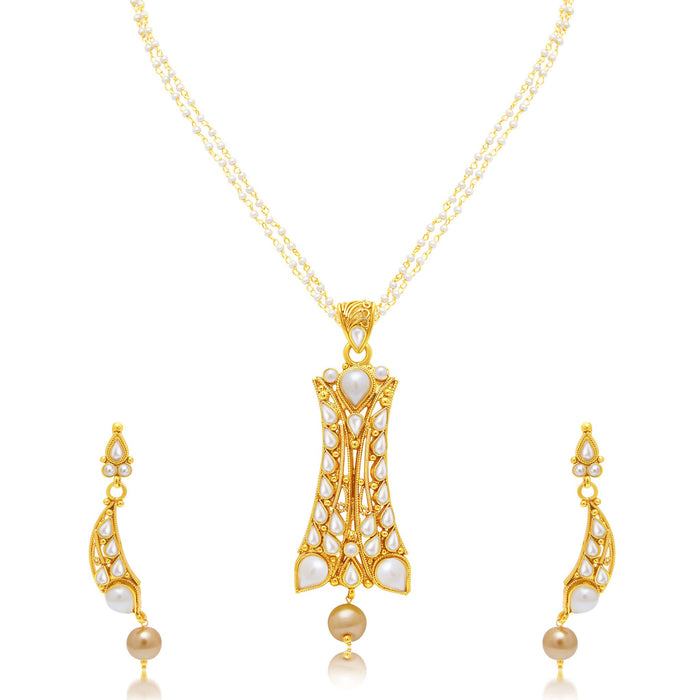 Sukkhi Excellent Gold Plated Pendant Set For Women