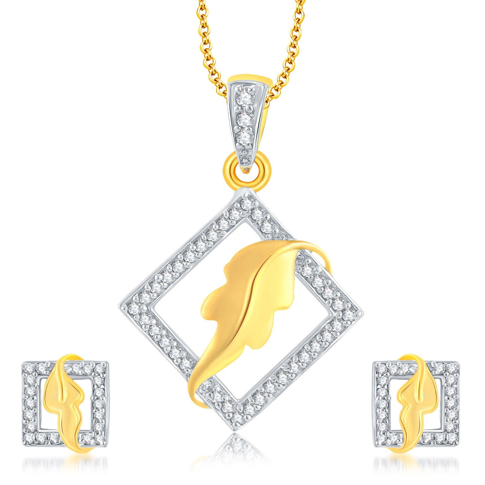 Pissara Wavy Leaf Gold Plated CZ Pendant Set For Women