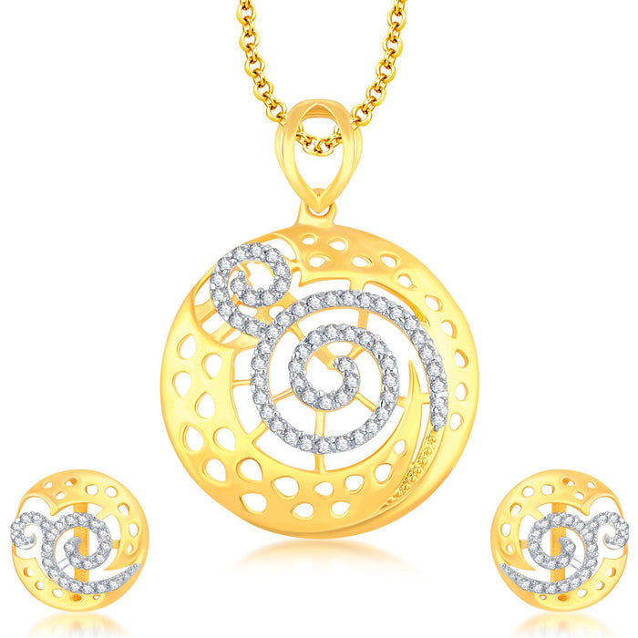 Pissara Excellent Gold Plated CZ Pendant Set For Women