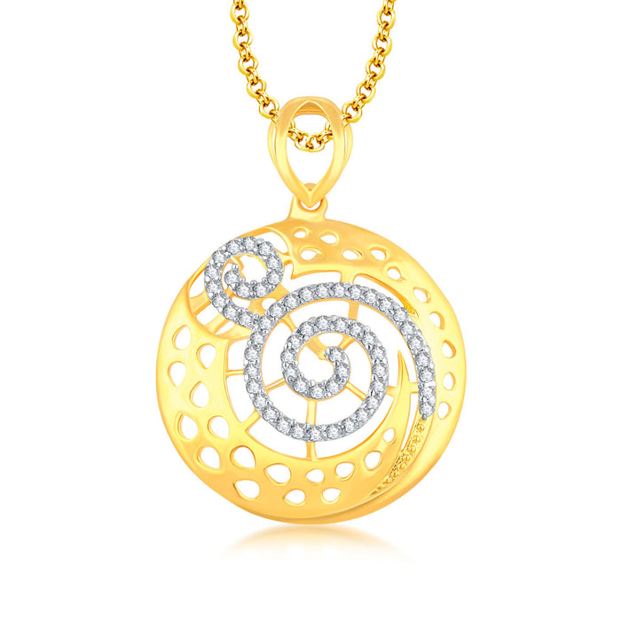 Pissara Excellent Gold Plated CZ Pendant Set For Women-1