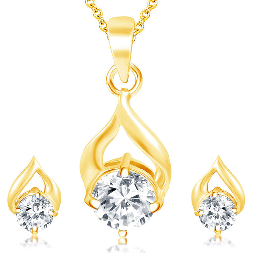 Pissara Stunning Gold Plated Solitare Pendant Set For Women