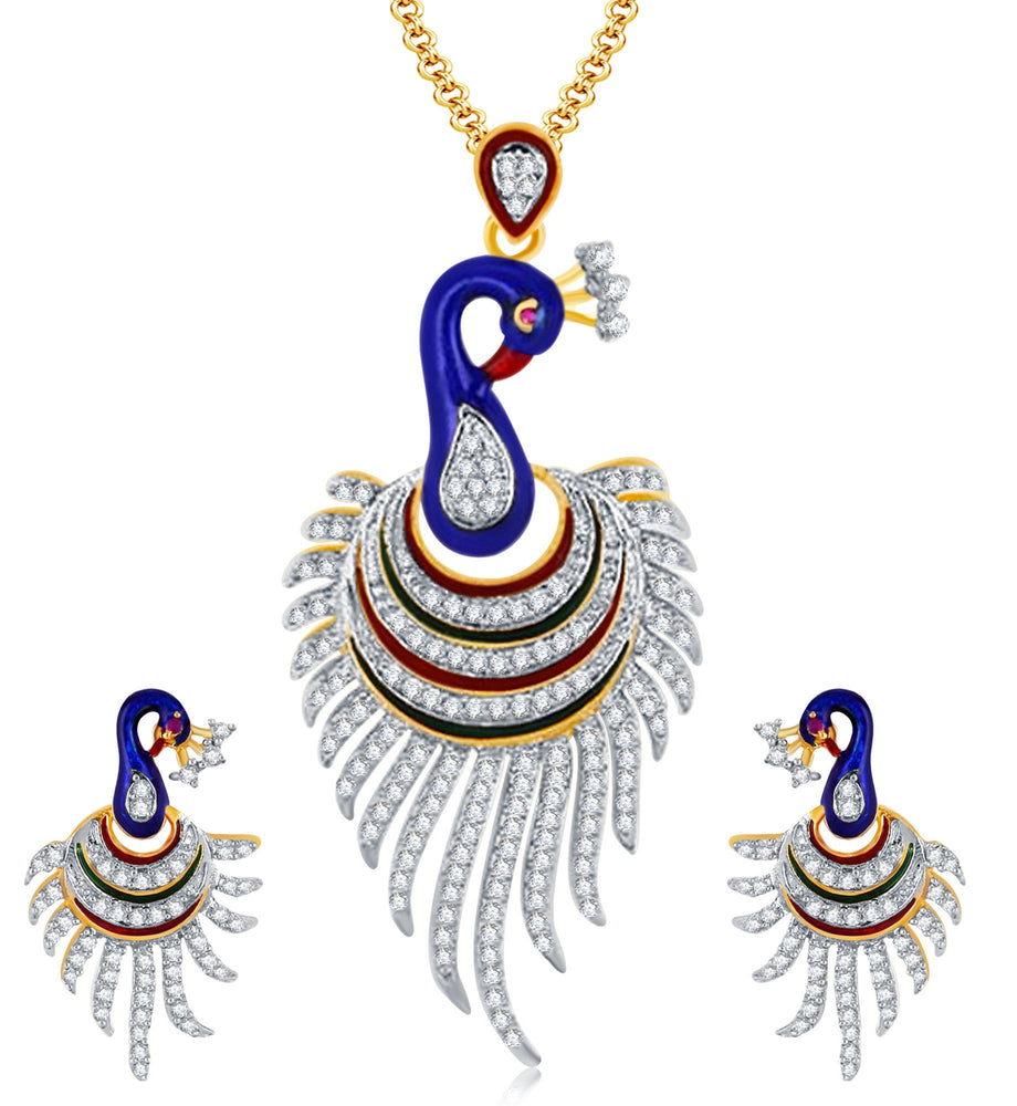 Pissara Attractive Peacock Gold Plated CZ Pendant Set For Women