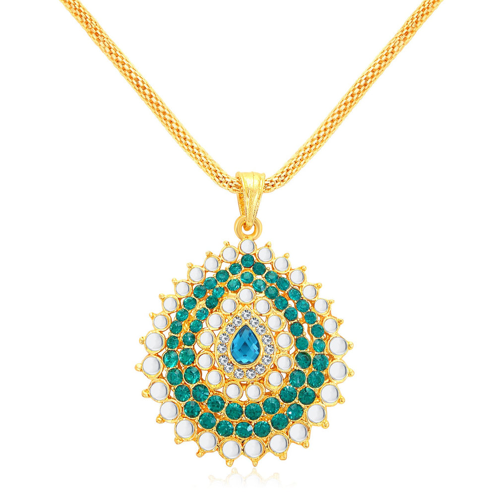 Sukkhi Gleaming Gold Plated AD Pendant Set For Women-1
