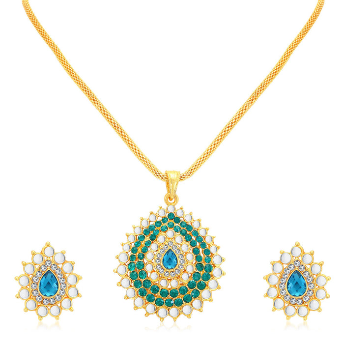Sukkhi Gleaming Gold Plated AD Pendant Set For Women