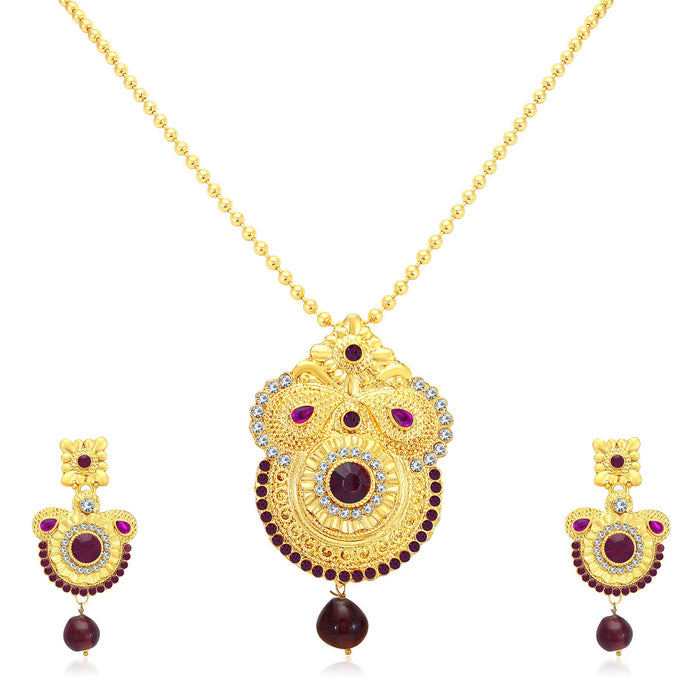 Sukkhi Pretty Gold Plated AD Pendant Set For Women
