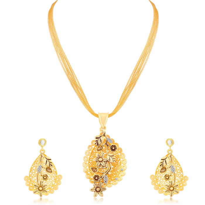Sukkhi Graceful Gold Plated Pendant Set for Women