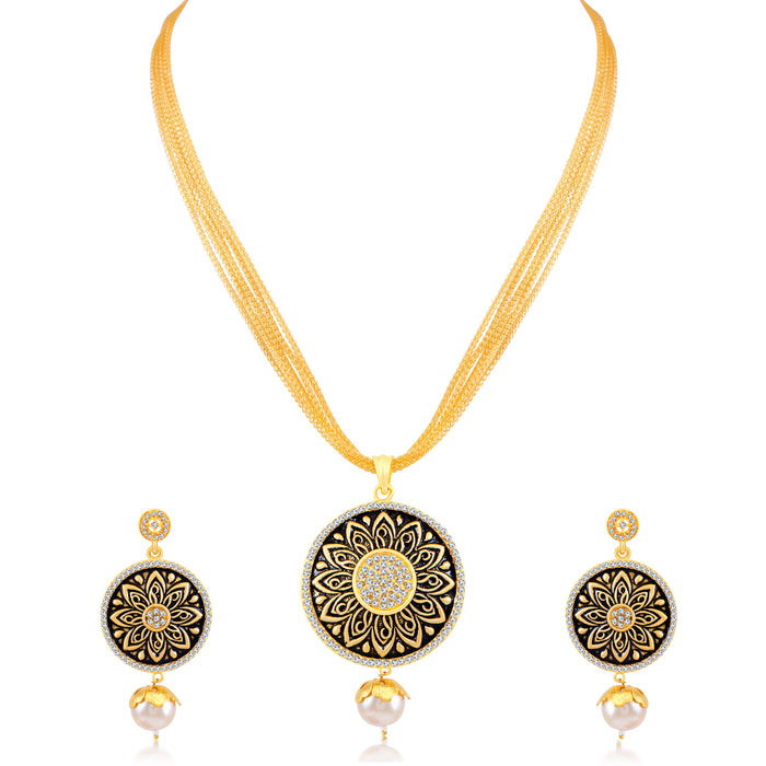 Sukkhi Incredible Floral Gold Plated Pendant Set for Women