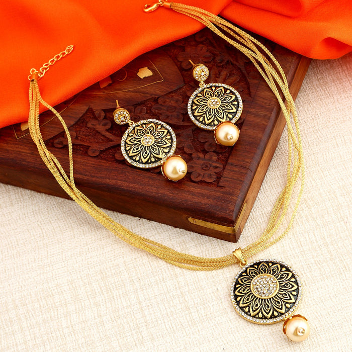 Sukkhi Incredible Floral Gold Plated Pendant Set for Women - Title