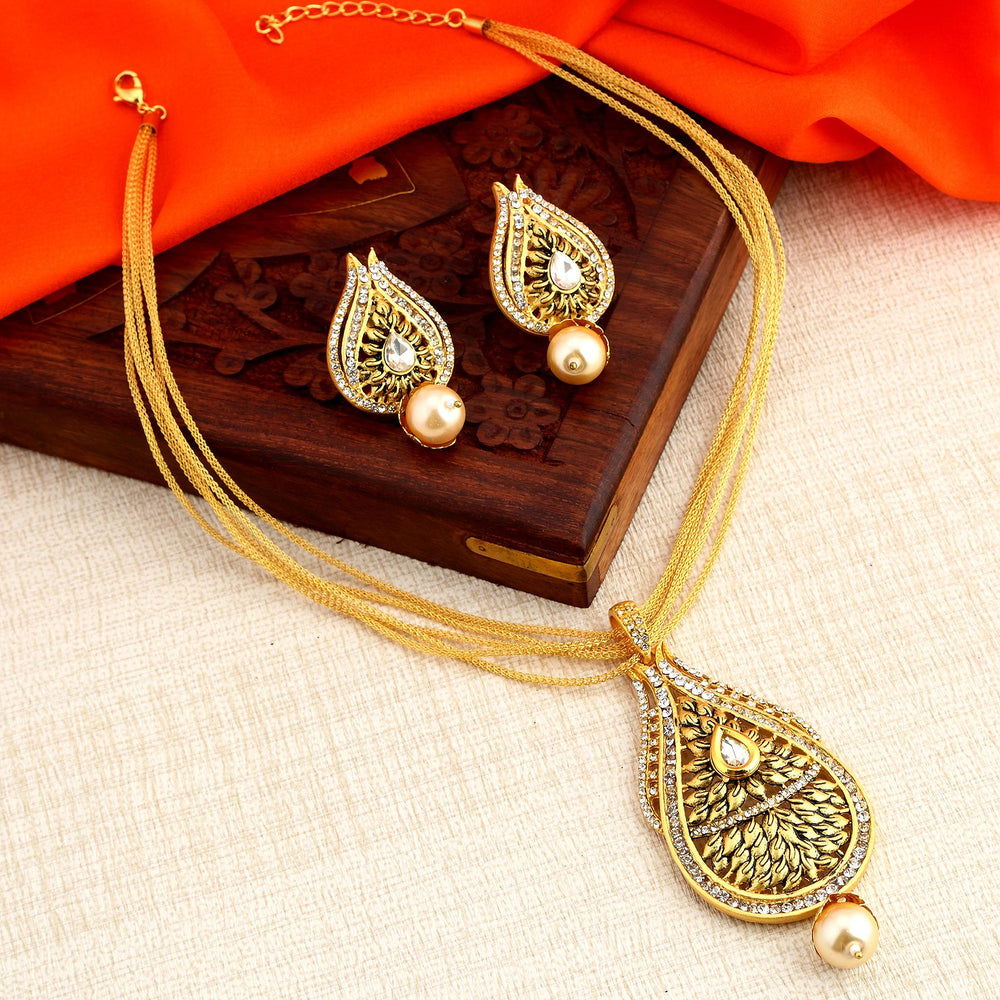 Sukkhi Lavish Gold Plated Pendant Set for Women - Title