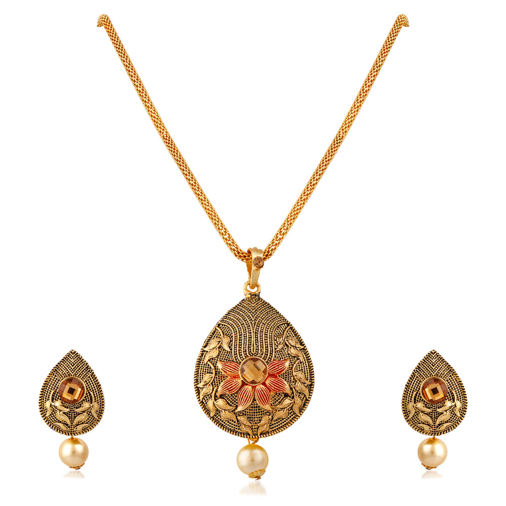 Trushi Charming Designer Gold Plated Pendent Set For Women