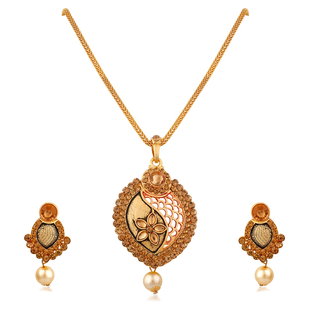 Trushi Unique Designer Gold Plated Pendent Set For Women