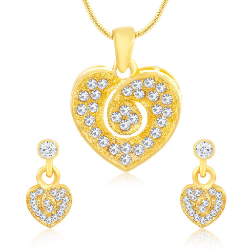 Sukkhi Valentine Gold plated Heart Necklace Set for women