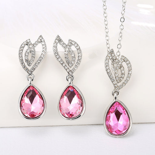 Sukkhi Gorgeous Crystal Pink Colour Stone Rhodium Plated Pendant Set for Women