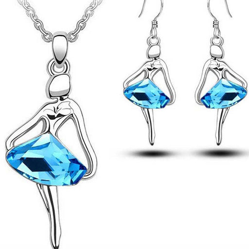 Sukkhi Cluster Dancing Girl Crystal Colour Stone Rhodium Plated Pendant Set for Women