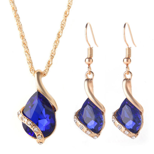 Sukkhi Sleek Blue Crystal Gold Plated Pendant Set for Women