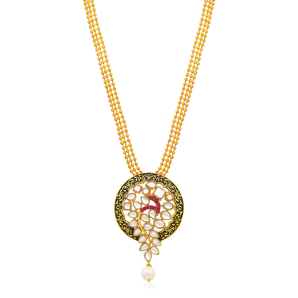 Sukkhi Sparkling Gold Plated Pendant Set for Women