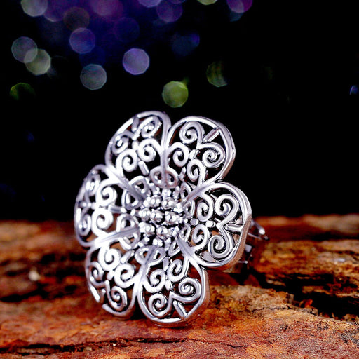 Sukkhi Pleasing Rhodium Plated Floral Filigree design cocktail ring for women