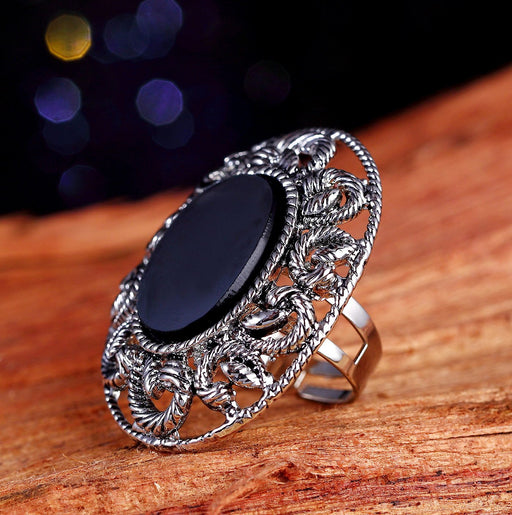 Sukkhi Dazzling Rhodium Plated Round shaped Black Cocktail ring for women